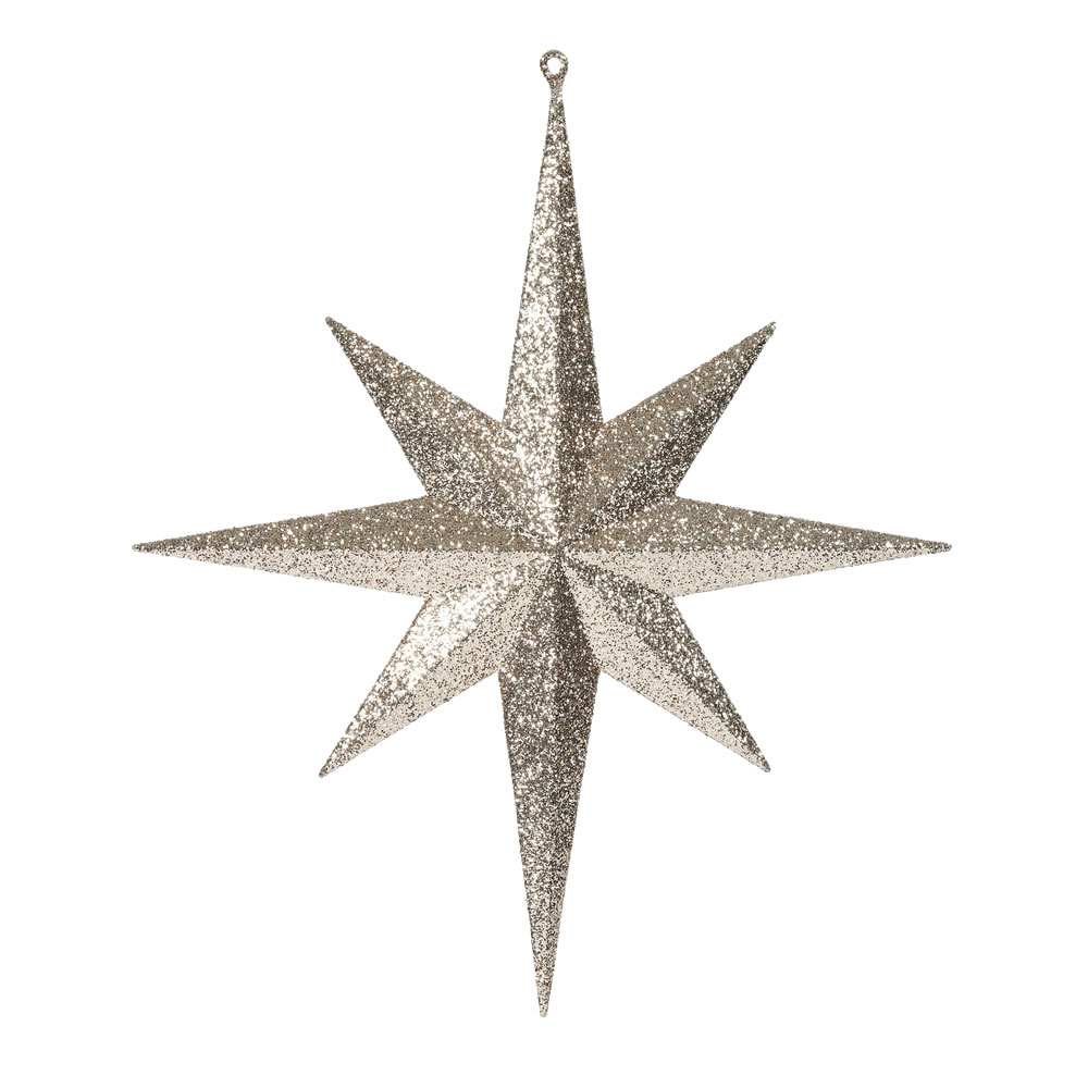 15.75 Inch Rose Gold Iridescent Glitter Bethlehem Star Christmas Ornament