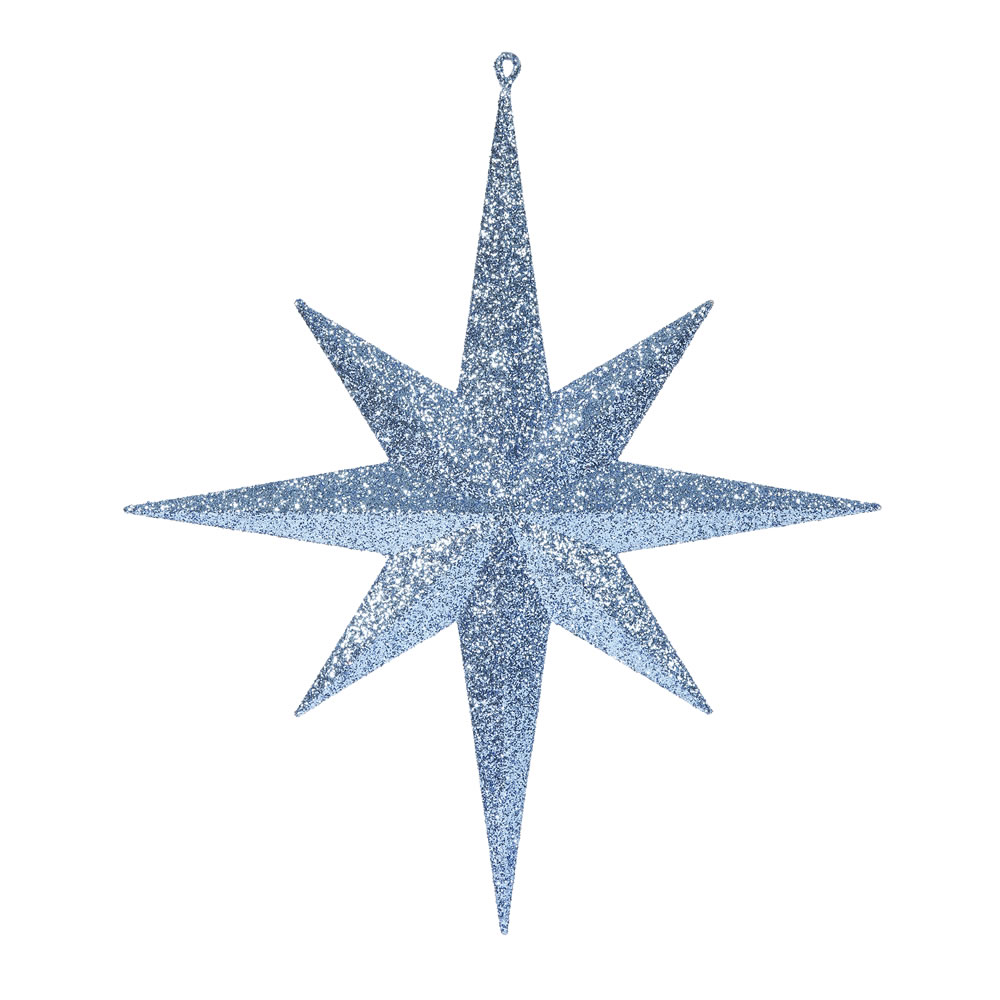 15.75 Inch Sea Blue Iridescent Glitter Bethlehem Star Christmas Ornament