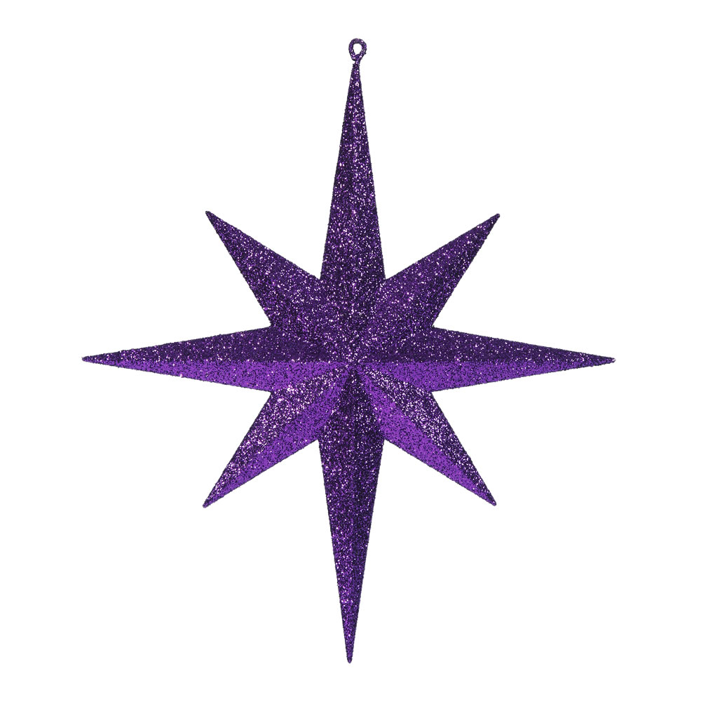 15.75 Inch Purple Iridescent Glitter Bethlehem Star Christmas Ornament