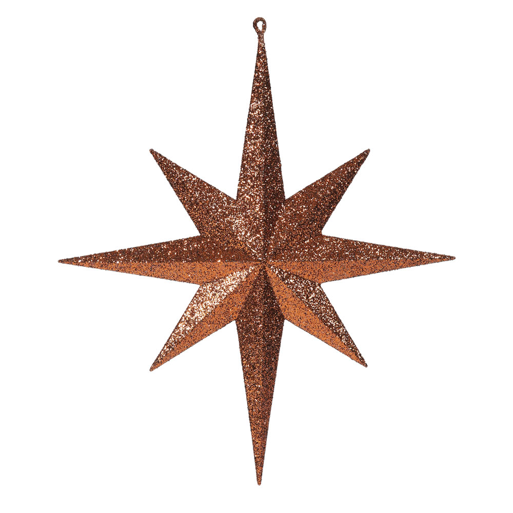 15.75 Inch Copper Iridescent Glitter Bethlehem Star Christmas Ornament