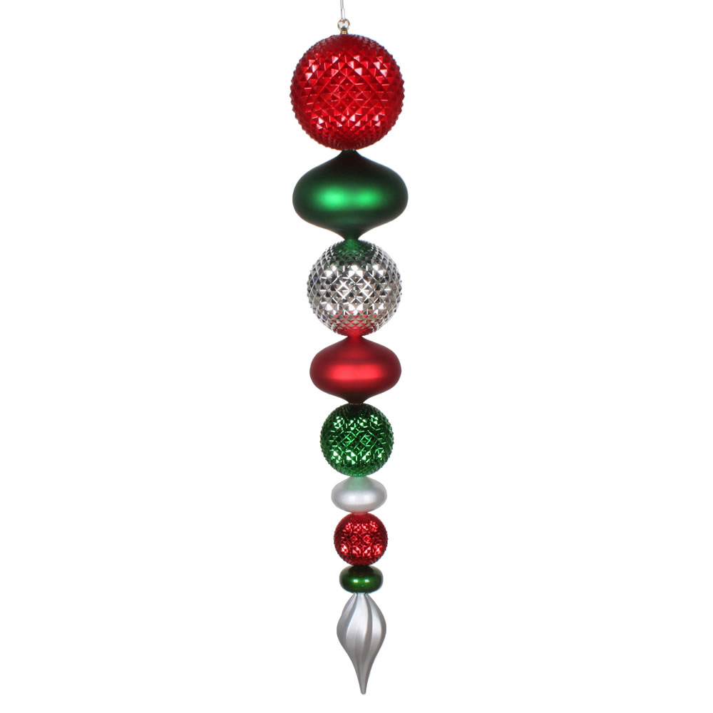 45 Inch Red Silver and Green Durian Finial Drop Ornament