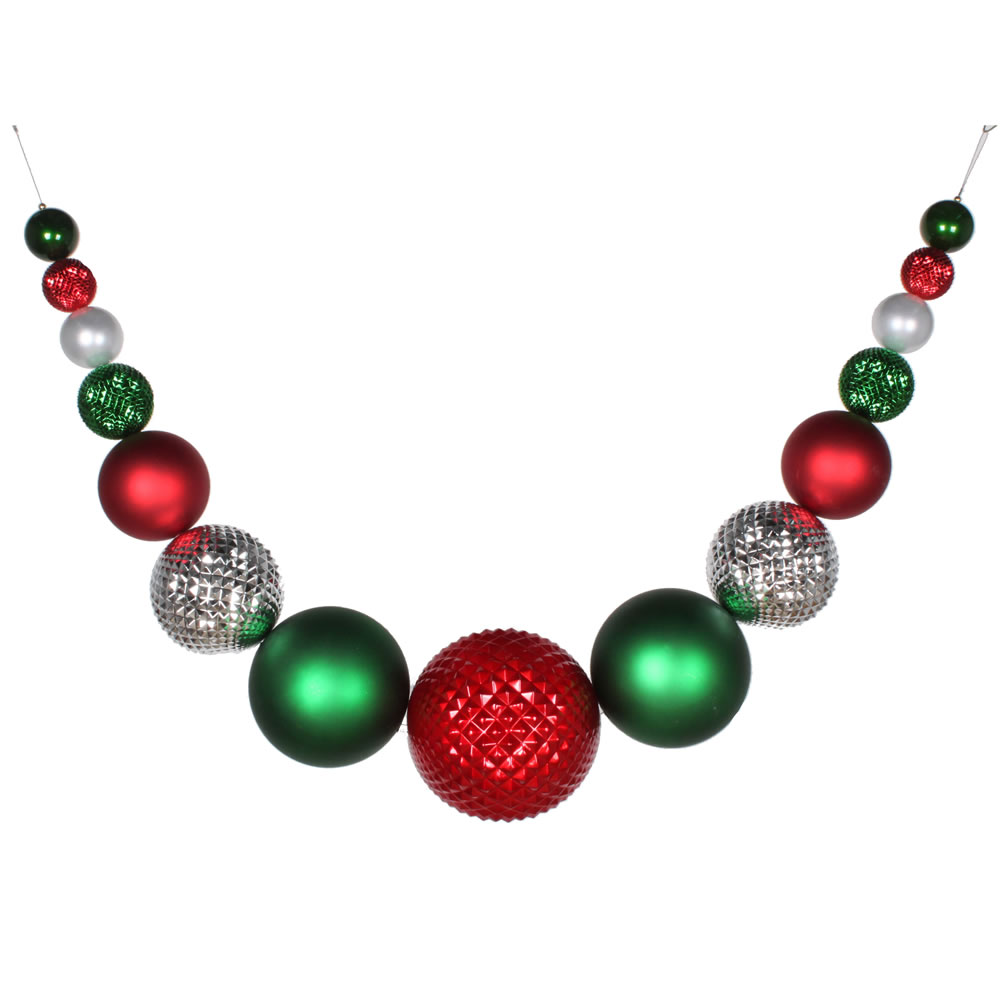 76 Inch Red Silver and Green Decorative Ornament Swag Garland