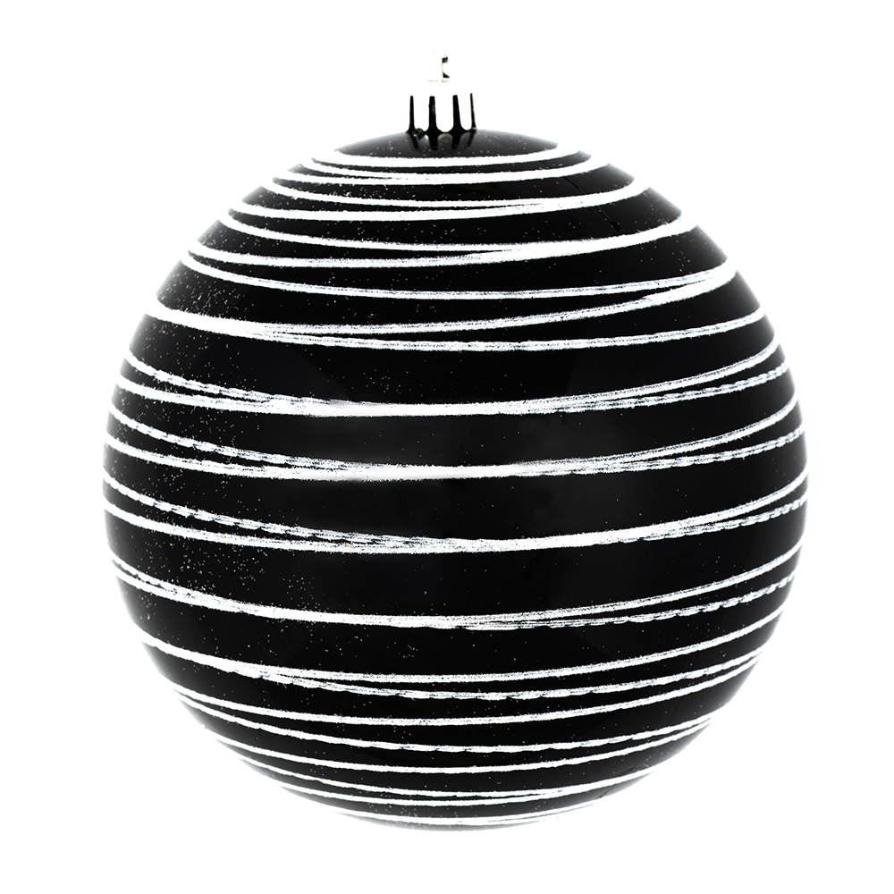 6 Inch Black/White Candy Glitter Lines Round Christmas Ball Shatterproof Ornament