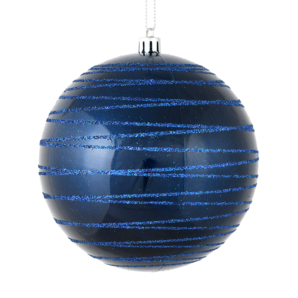 6 Inch Midnight Blue Candy Glitter Lines Round Christmas Ball Shatterproof Ornament