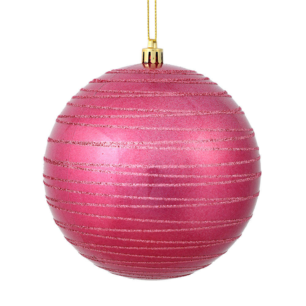 6 Inch Mauve Candy Glitter Lines Round Christmas Ball Shatterproof Ornament