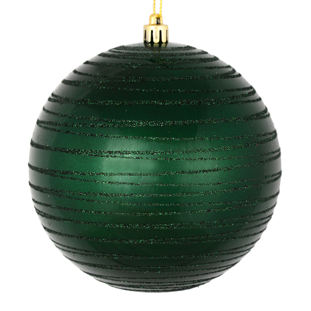 6 Inch Midnight Green Candy Glitter Lines Round Christmas Ball Shatterproof Ornament