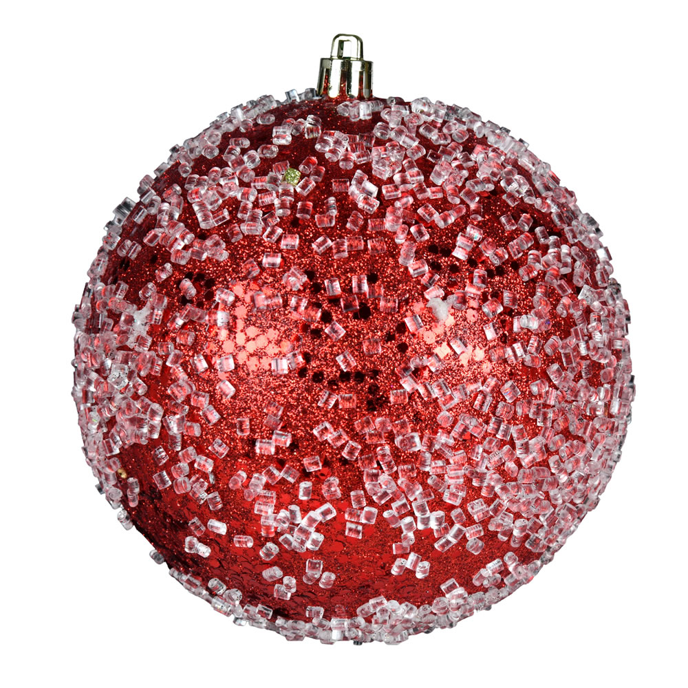 10 Inch Red Glitter Hail Christmas Ball Ornament