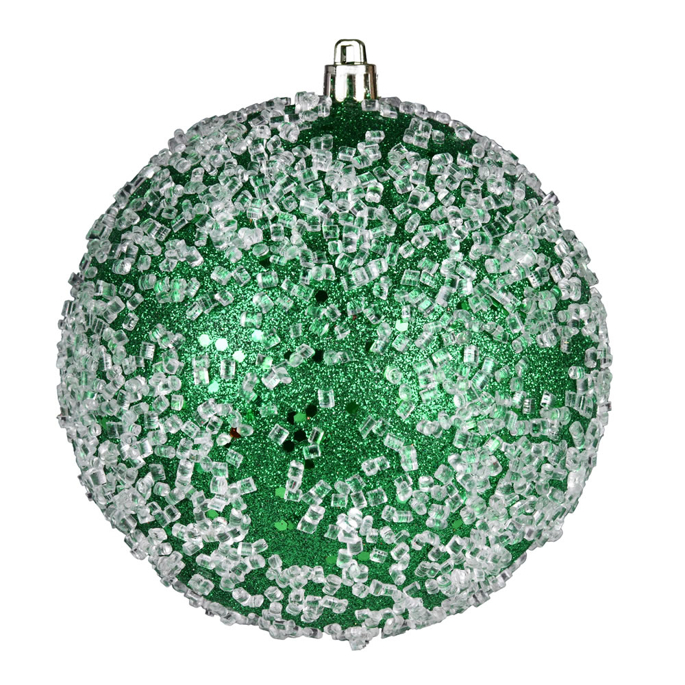 10 Inch Green Glitter Hail Christmas Ball Ornament