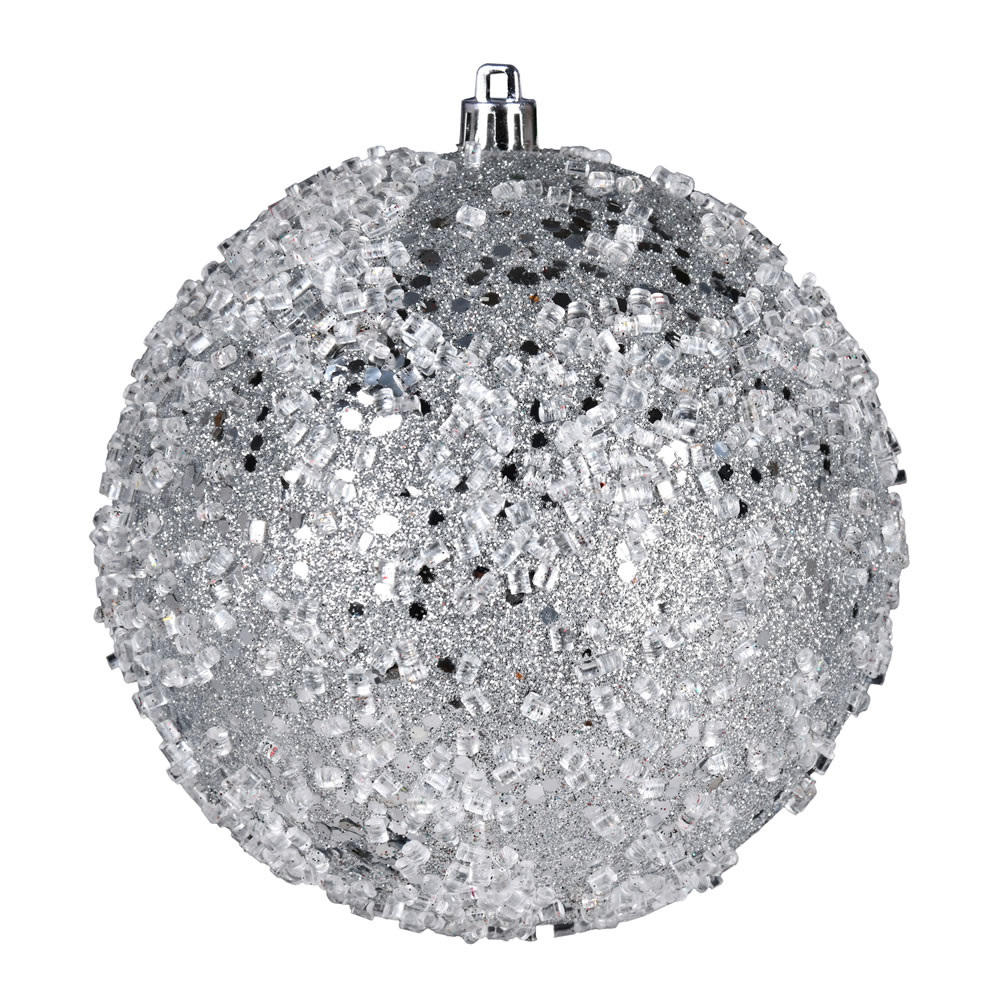 10 Inch Silver Glitter Hail Christmas Ball Ornament