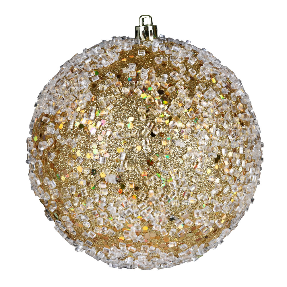 10 Inch Gold Glitter Hail Christmas Ball Ornament