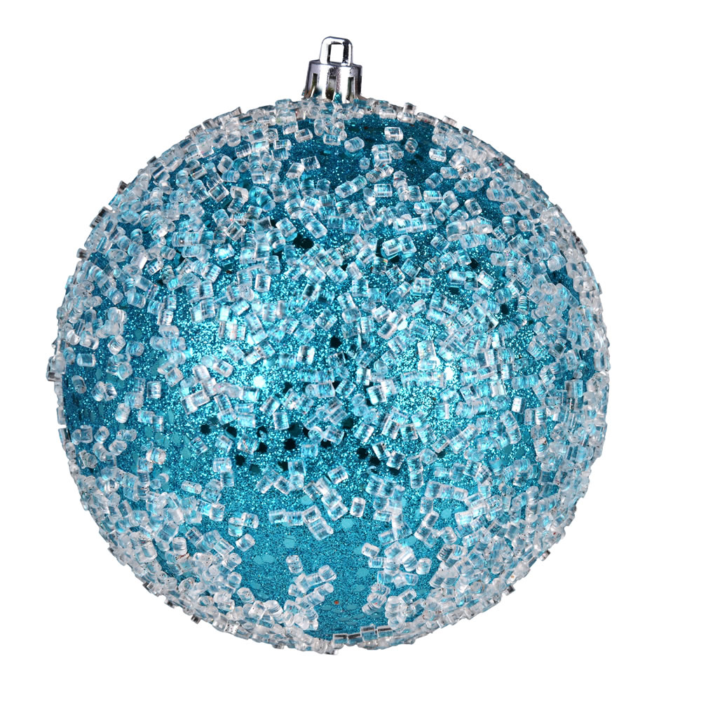 10 Inch Turquoise Glitter Hail Christmas Ball Ornament