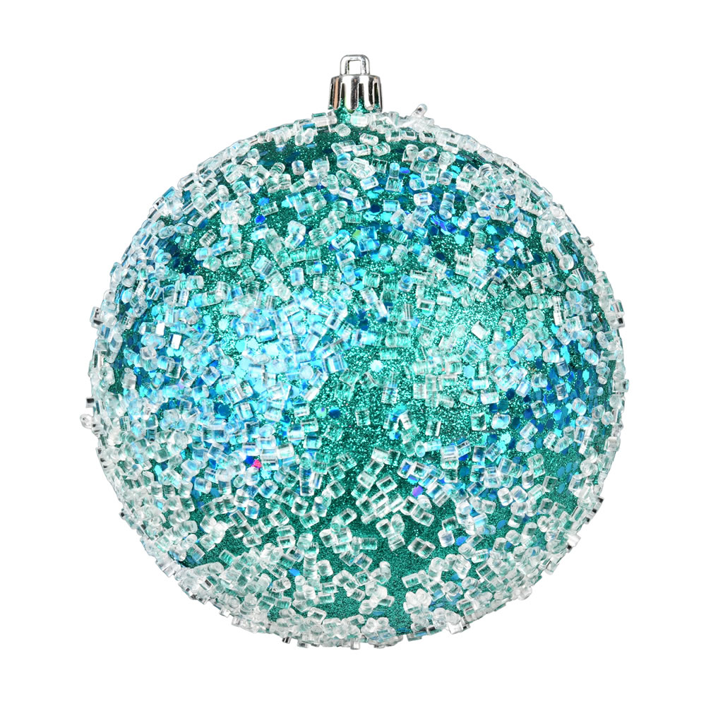 10 Inch Teal Glitter Hail Christmas Ball Ornament