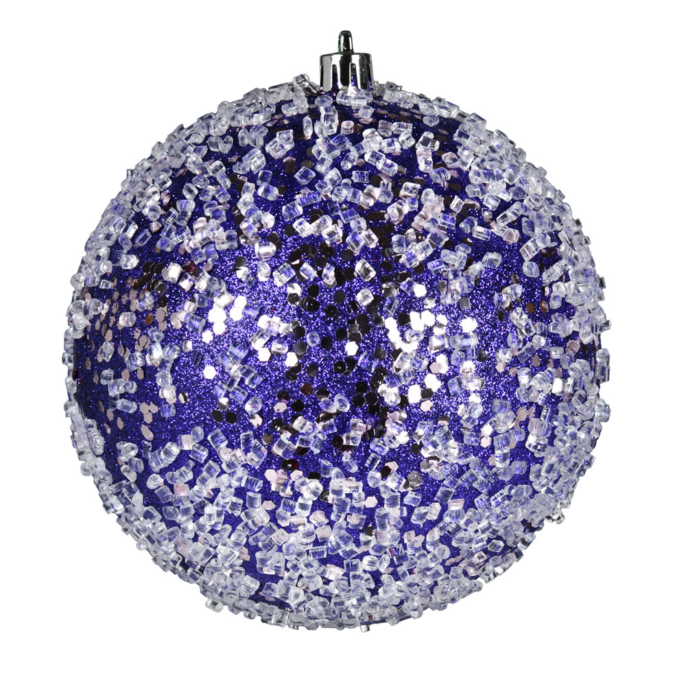 10 Inch Purple Glitter Hail Christmas Ball Ornament