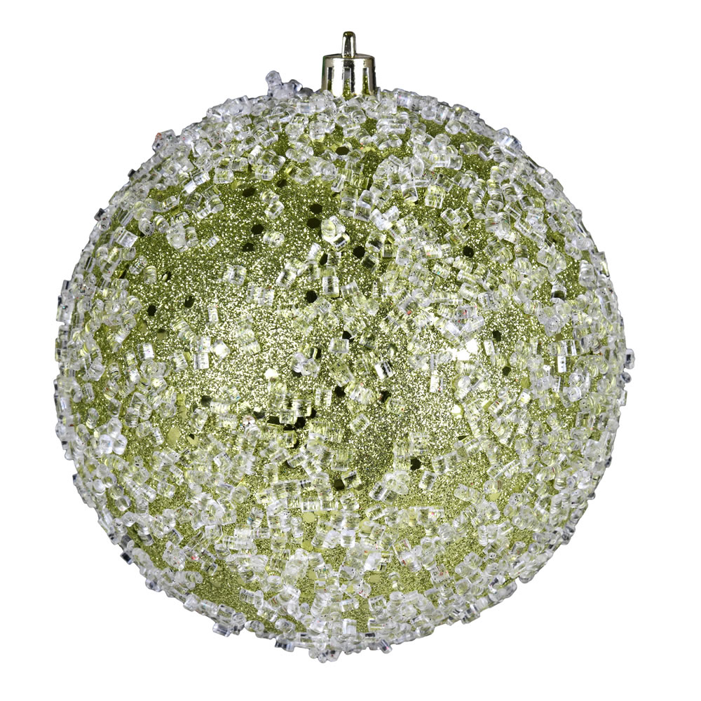10 Inch Lime Glitter Hail Christmas Ball Ornament