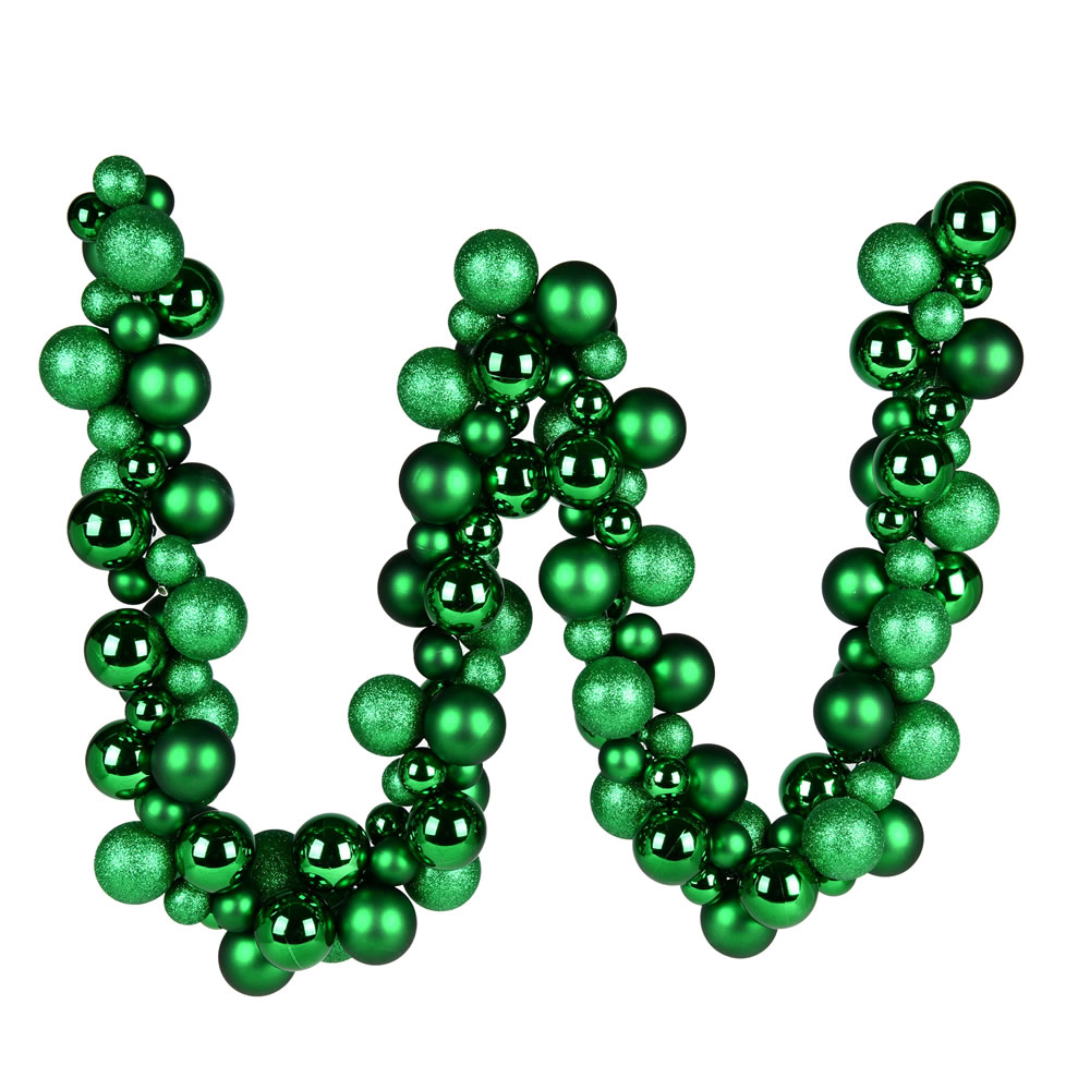 6 Foot Green Assorted Decorative Ball Garland Ornament