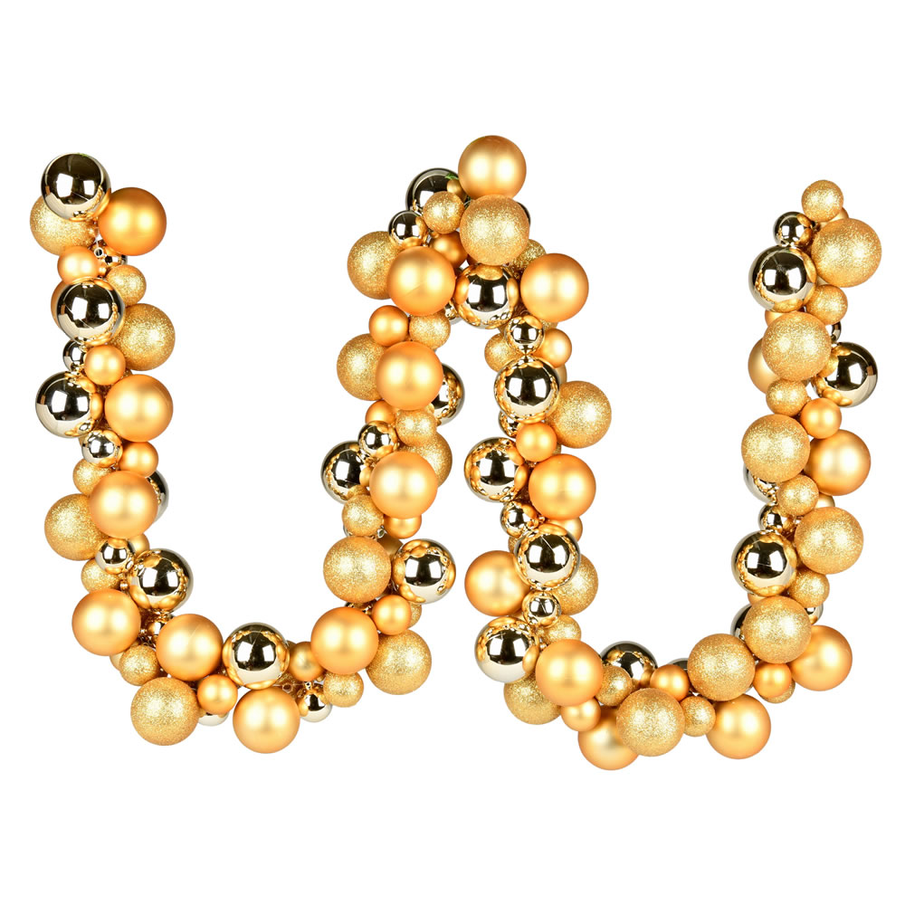 6 Foot Gold Assorted Decorative Ball Garland Ornament