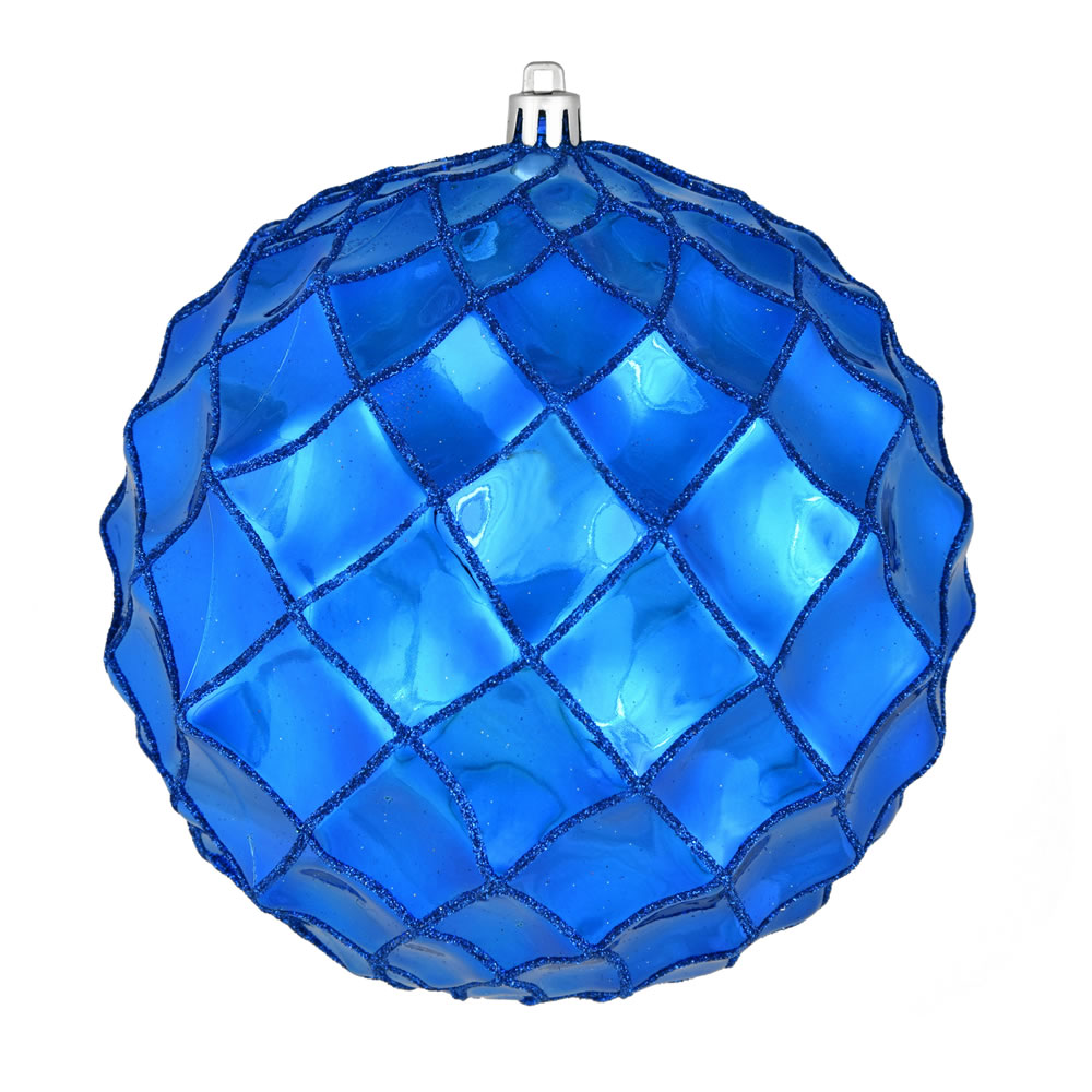 6 Inch Blue Shiny Form Geometric Christmas Ball Ornament