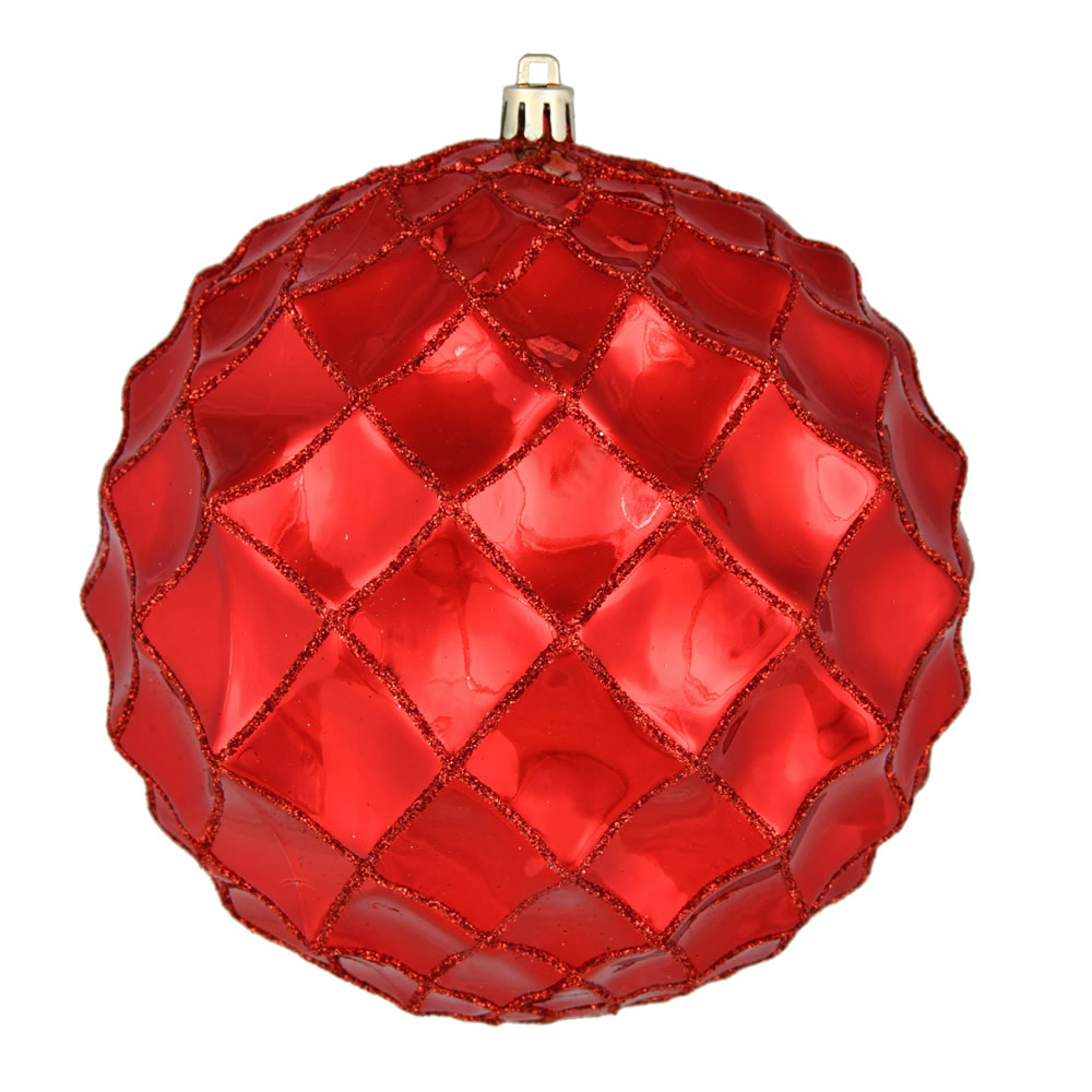 6 Inch Red Shiny Form Geometric Christmas Ball Ornament