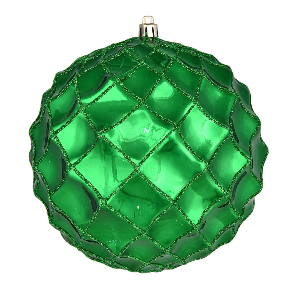 6 Inch Green Shiny Form Geometric Christmas Ball Ornament