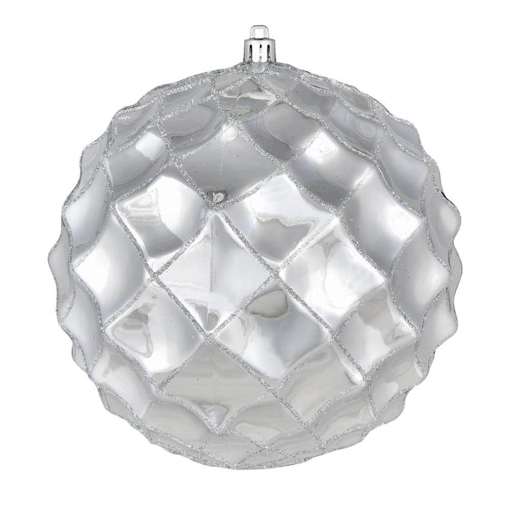 6 Inch Silver Shiny Form Geometric Christmas Ball Ornament
