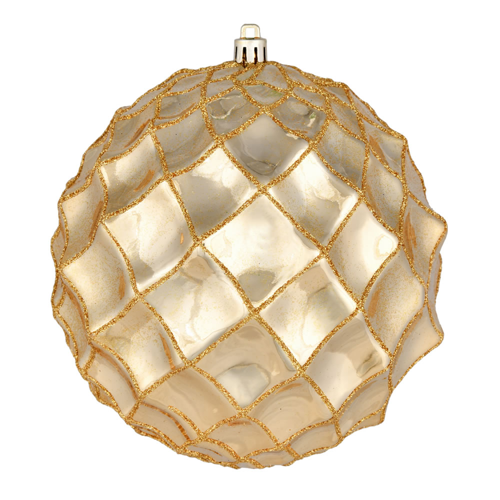 6 Inch Gold Shiny Form Geometric Christmas Ball Ornament