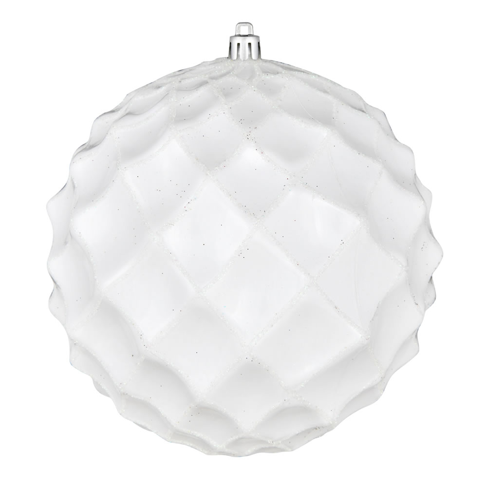 6 Inch White Shiny Form Geometric Christmas Ball Ornament