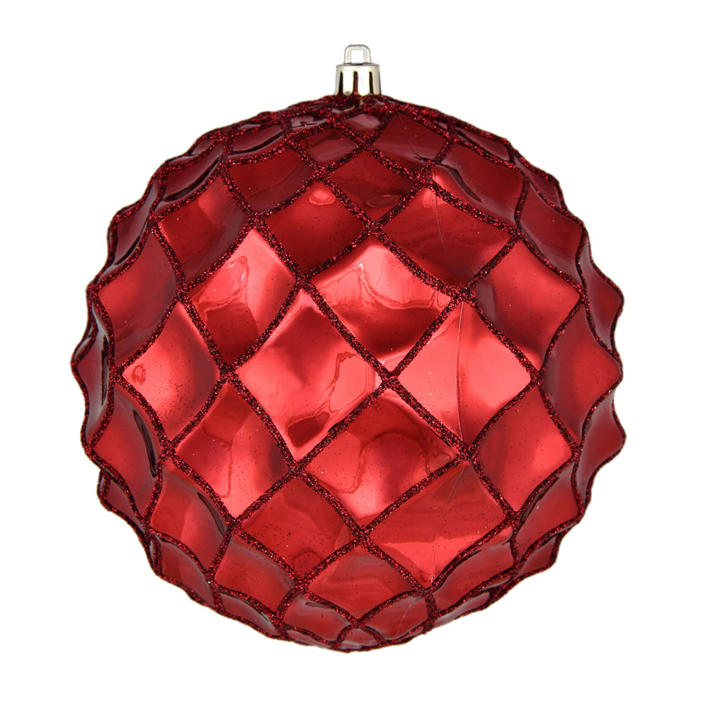 6 Inch Wine Shiny Form Geometric Christmas Ball Ornament