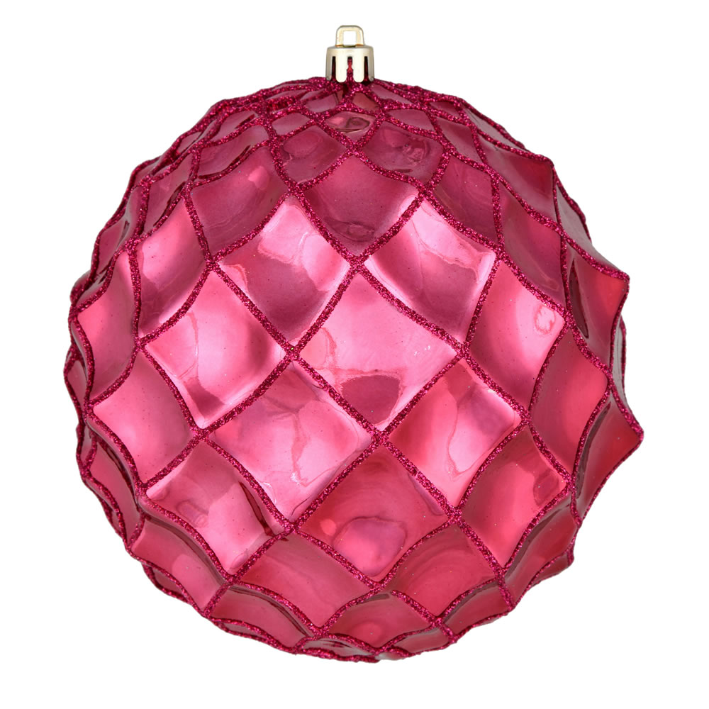 6 Inch Berry Red Shiny Form Geometric Christmas Ball Ornament