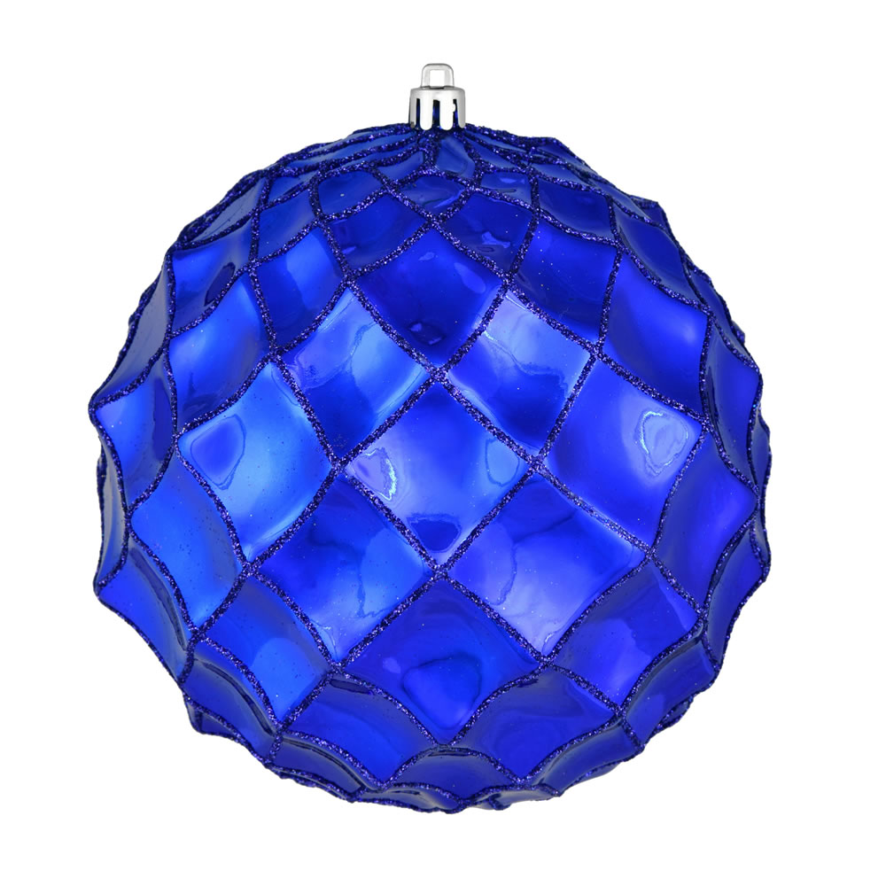 6 Inch Cobalt Blue Shiny Form Geometric Christmas Ball Ornament