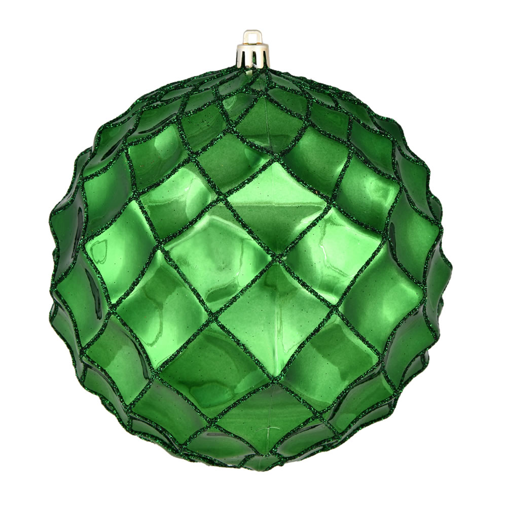6 Inch Emerald Shiny Form Geometric Christmas Ball Ornament