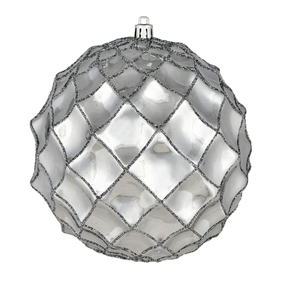 6 Inch Limestone Shiny Form Geometric Christmas Ball Ornament