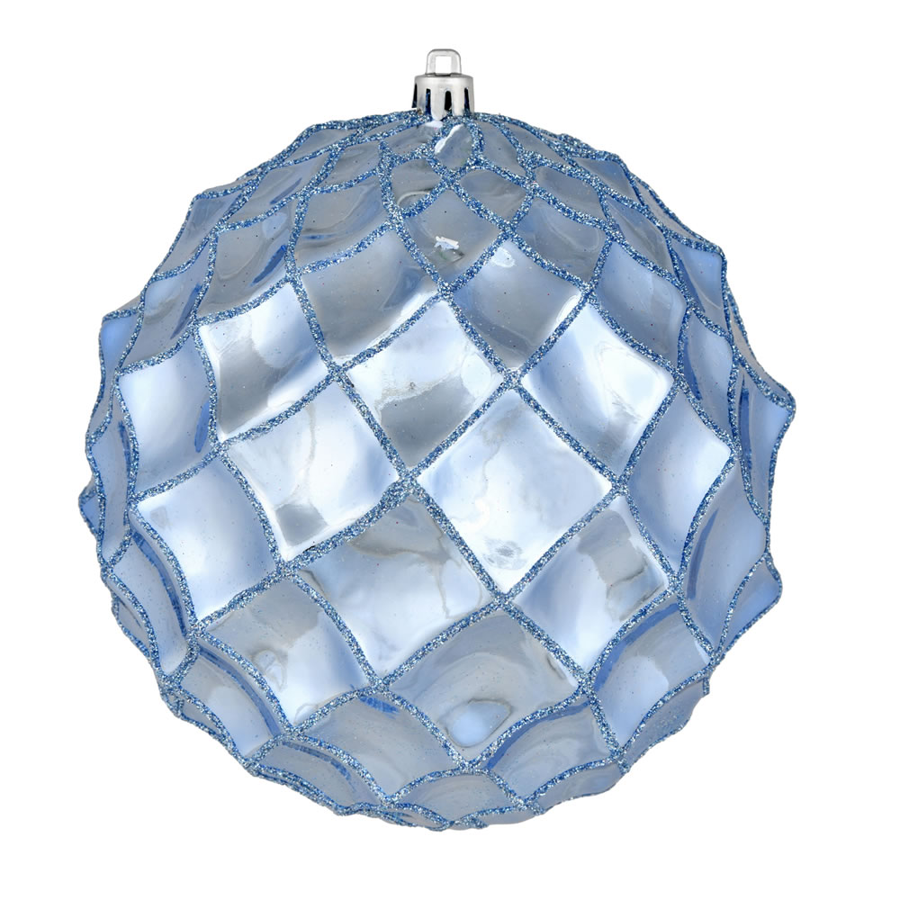 6 Inch Periwinkle Shiny Form Geometric Christmas Ball Ornament