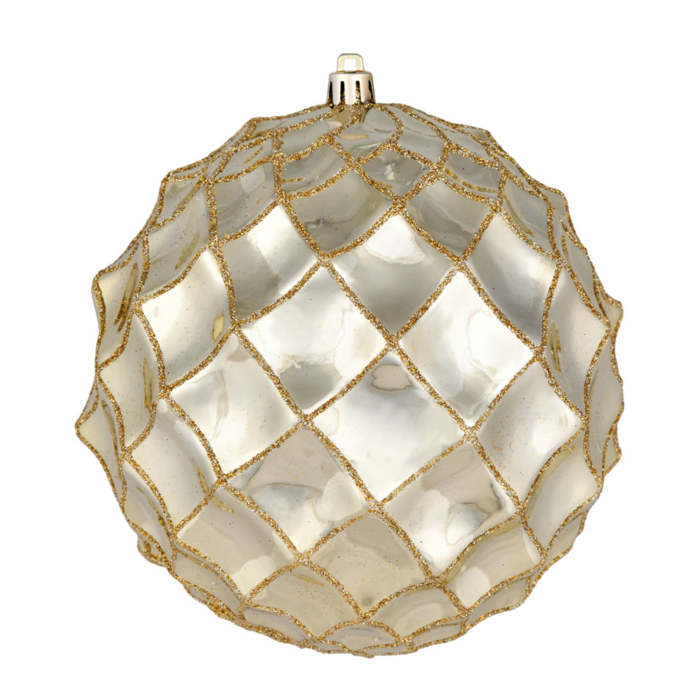 6 Inch Champagne Shiny Form Geometric Christmas Ball Ornament