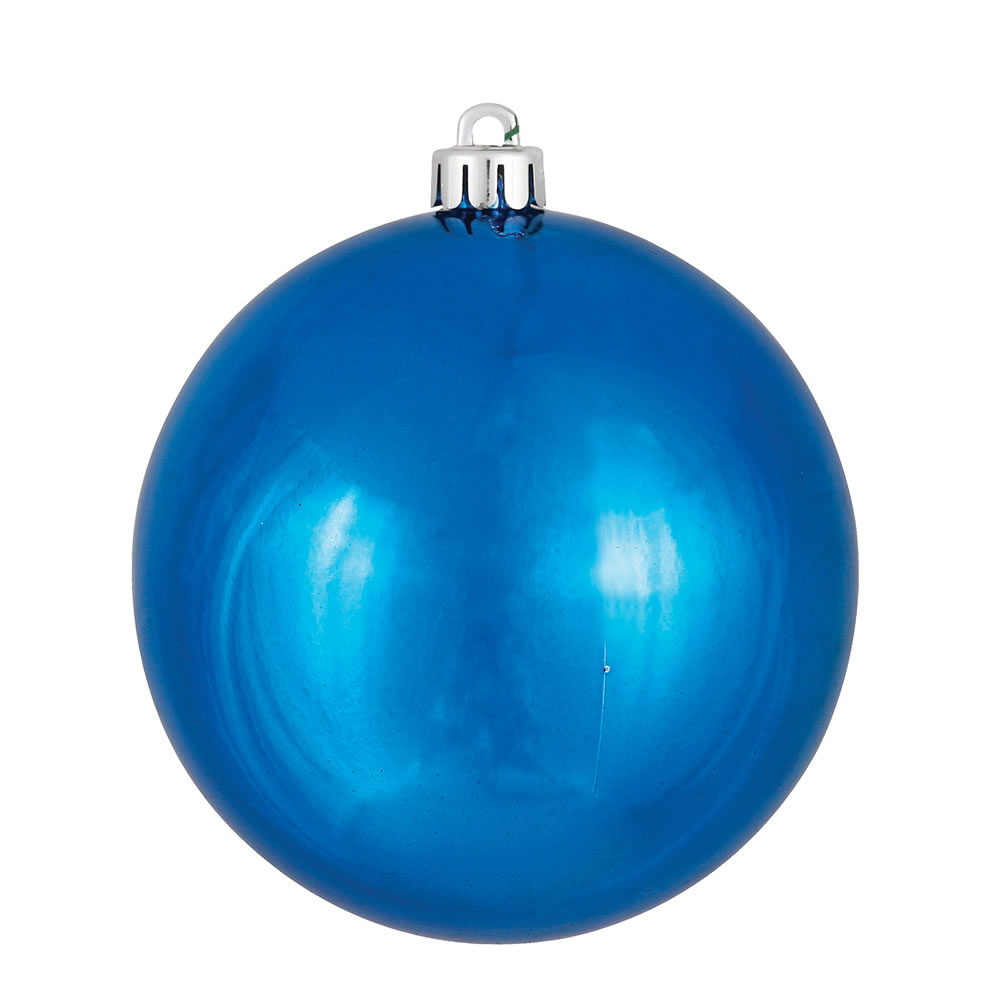 10 Inch Blue Shiny Christmas Ball Ornament - UV Drilled Cap