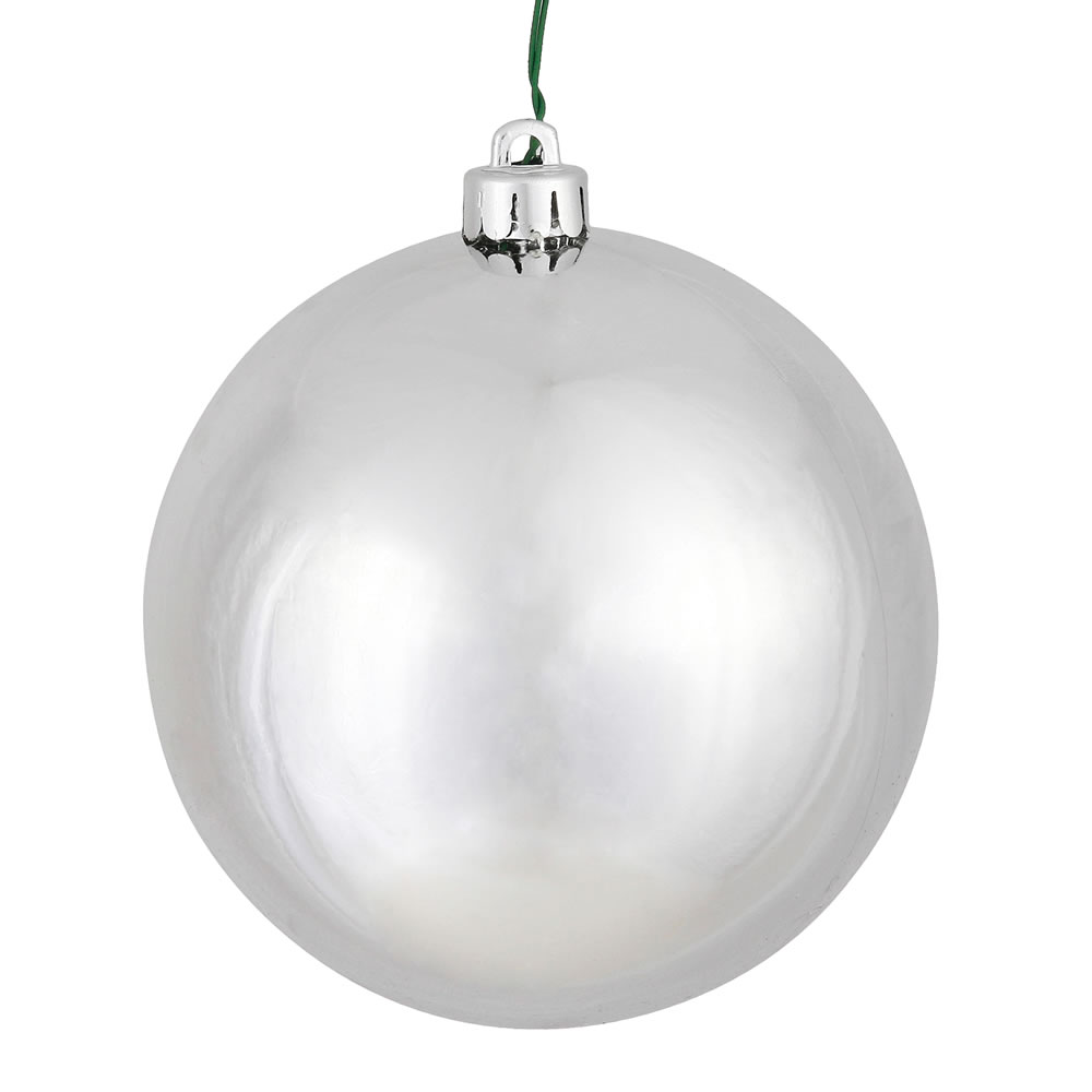 10 Inch Silver Shiny Artificial Christmas Ball - UV Drilled Cap