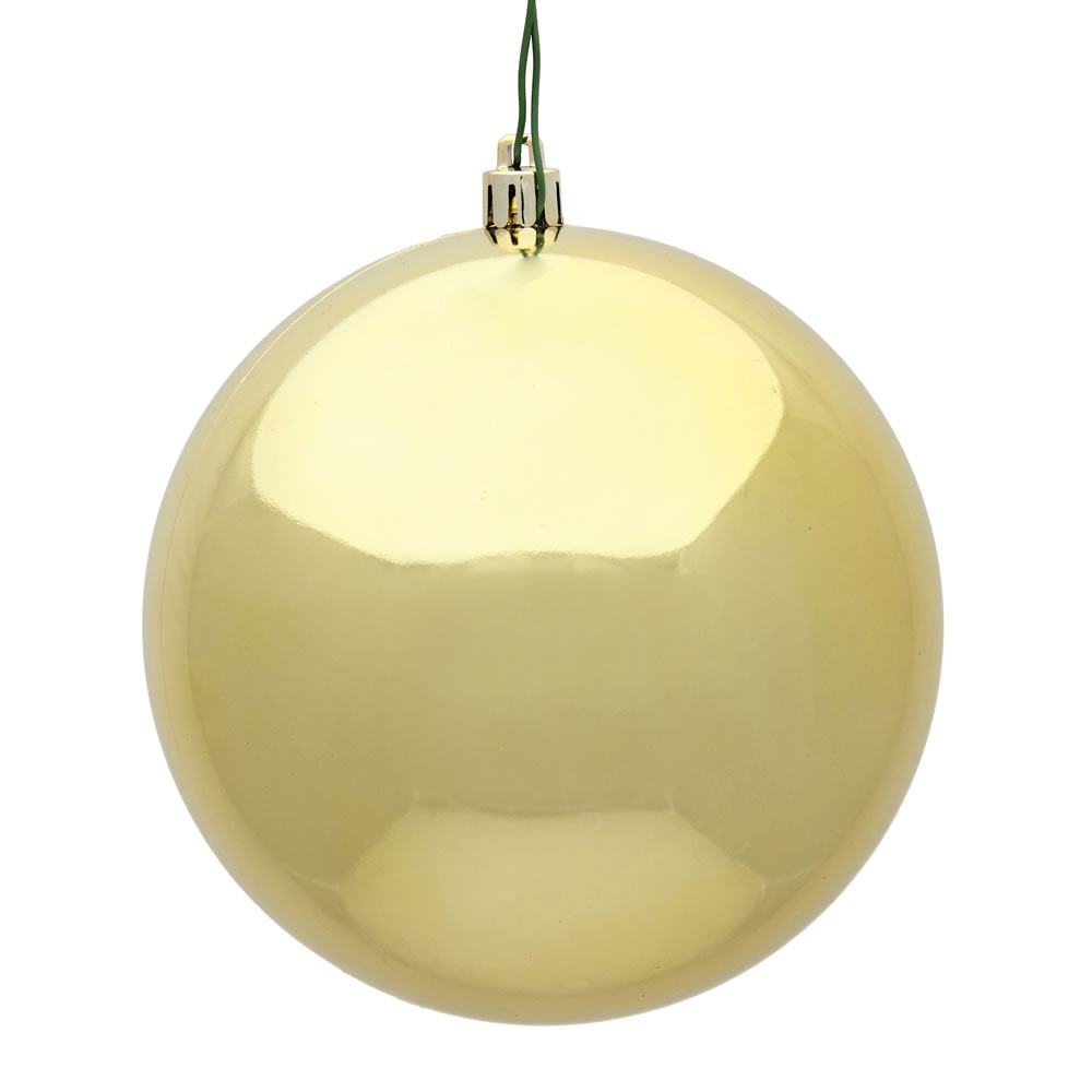 10 Inch Gold Shiny Artificial Christmas Ball Ornament - UV Drilled Cap