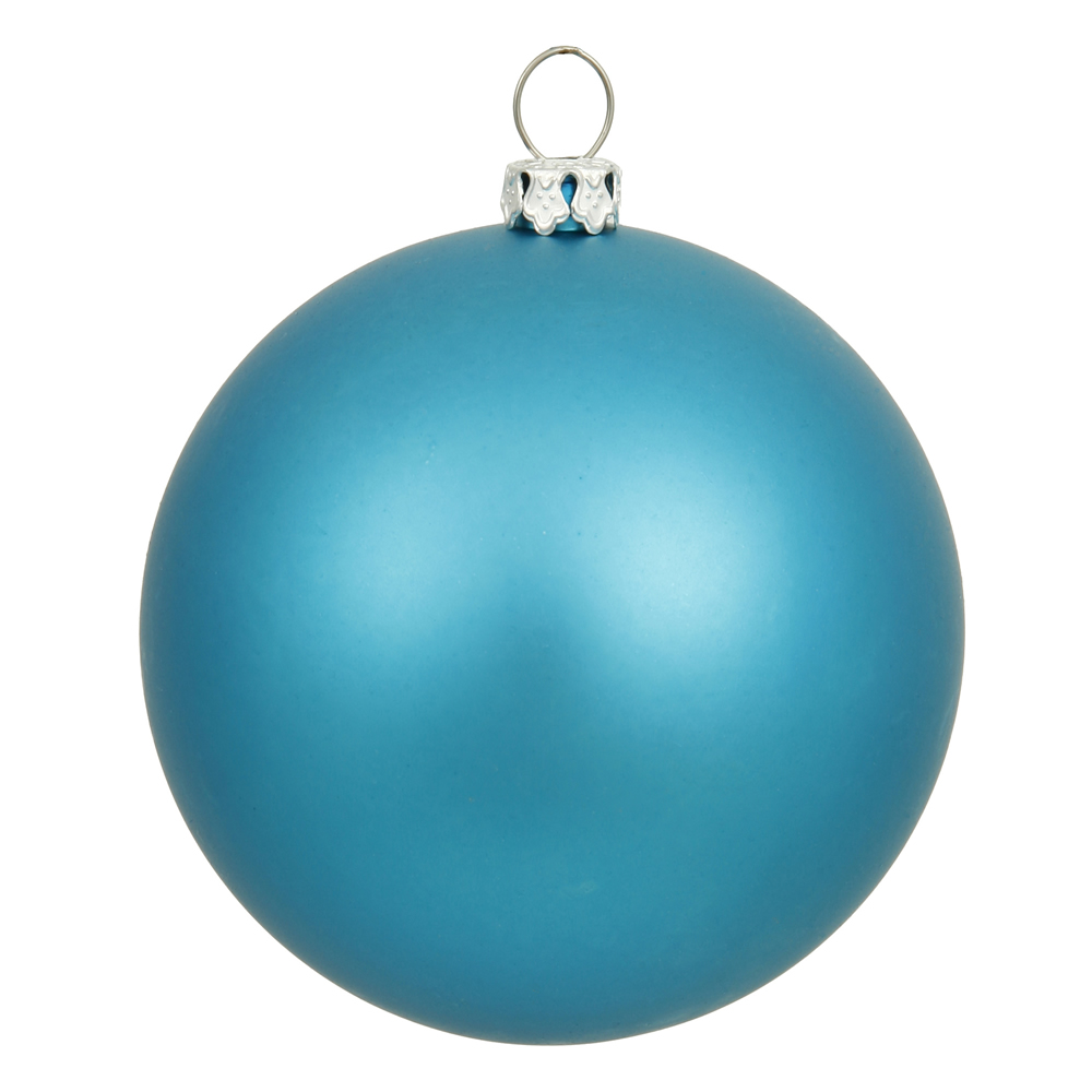 10 Inch Turquoise Matte Artificial Christmas Ball Ornament - UV Drilled Cap