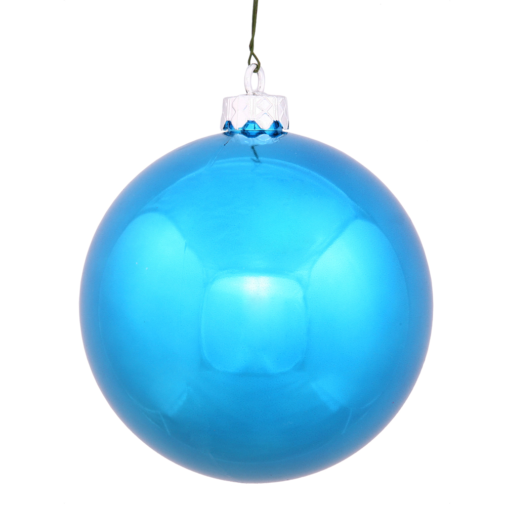10 Inch Turquoise Shiny Artificial Christmas Ball Ornament - UV Drilled Cap