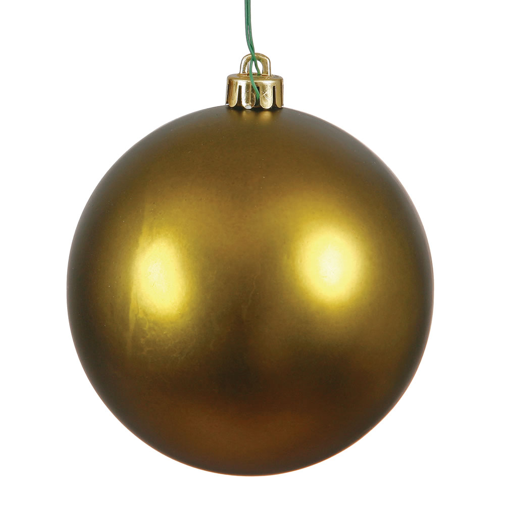 10 Inch Olive Matte Artificial Christmas Ball Ornament - UV Drilled Cap