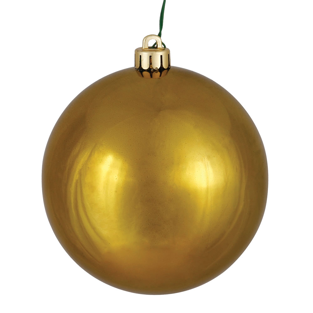 10 Inch Olive Shiny Artificial Christmas Ball Ornament - UV Drilled Cap