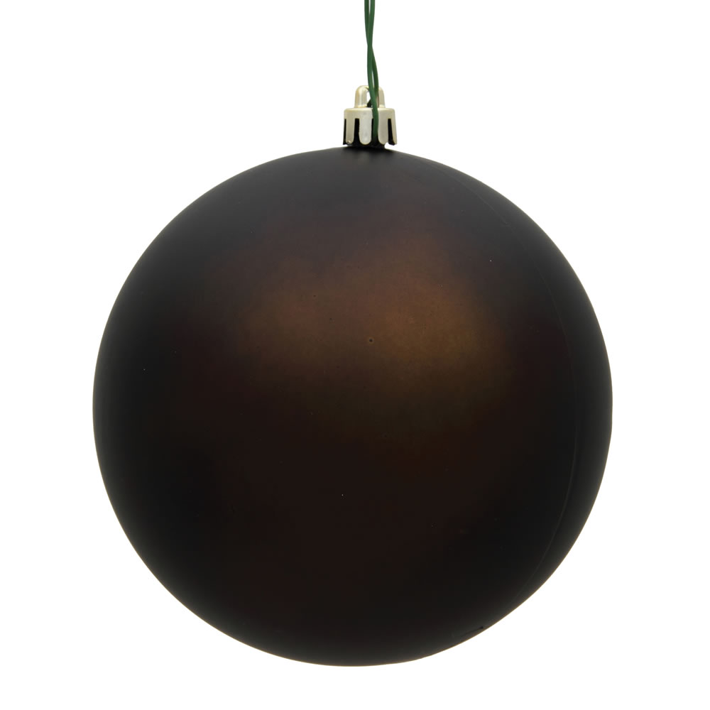 10 Inch Chocolate Matte Artificial Christmas Ball Ornament - UV Drilled Cap