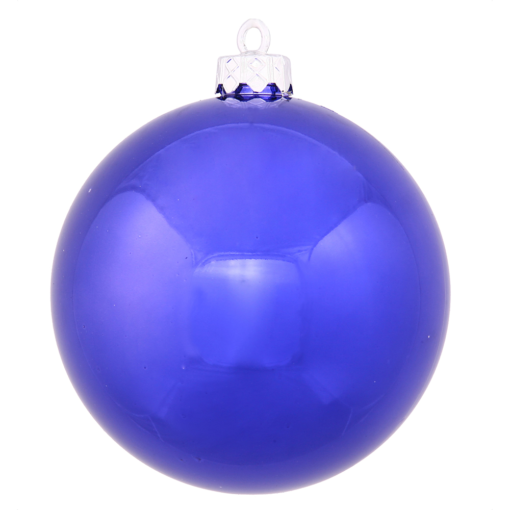 10 Inch Cobalt Blue Shiny Artificial Christmas Ornament - UV Drilled Cap