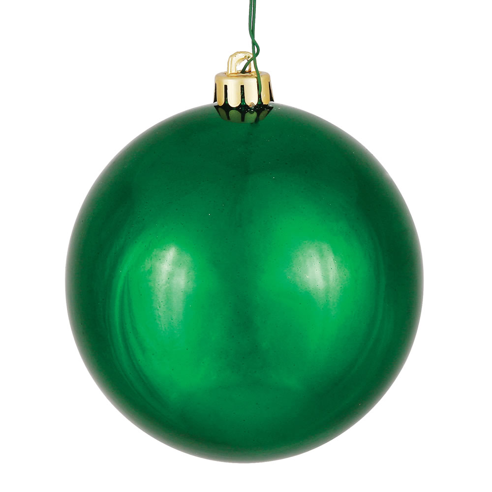 10 Inch Emerald Shiny Artificial Christmas Ball Ornament - UV Drilled Cap