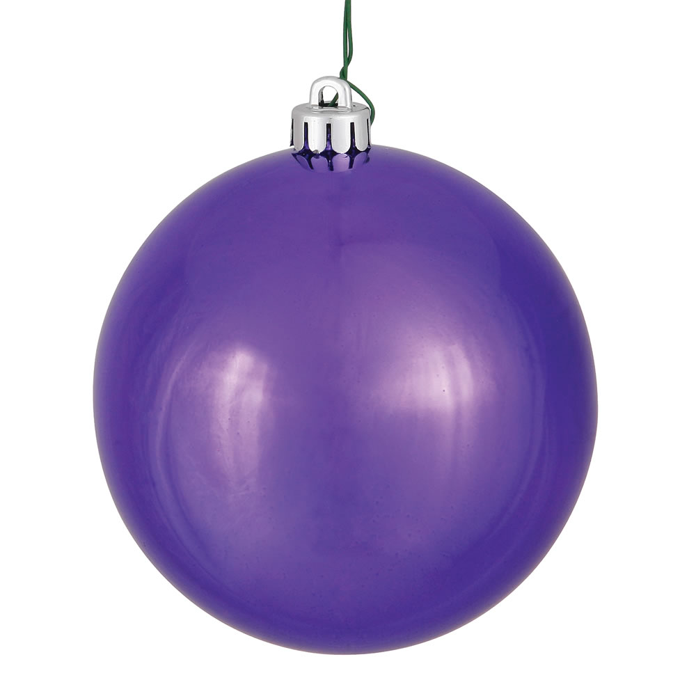 10 Inch Plum Shiny Artificial Christmas Ball Ornament - UV Drilled Cap