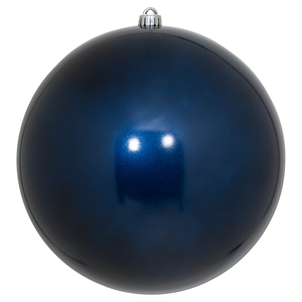 10 Inch Midnight Blue Candy Artificial Christmas Ball Ornament - UV Drilled Cap