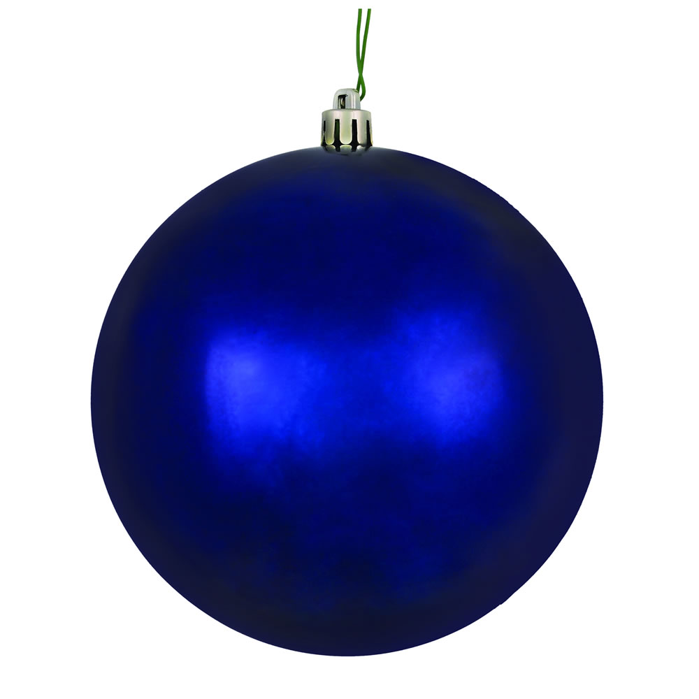 10 Inch Midnight Blue Shiny Artificial Christmas Ball Ornament - UV Drilled Cap