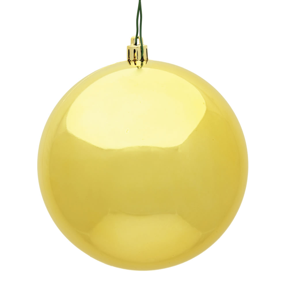 10 Inch Honey Gold Shiny Artificial Christmas Ball Ornament - UV Drilled Cap