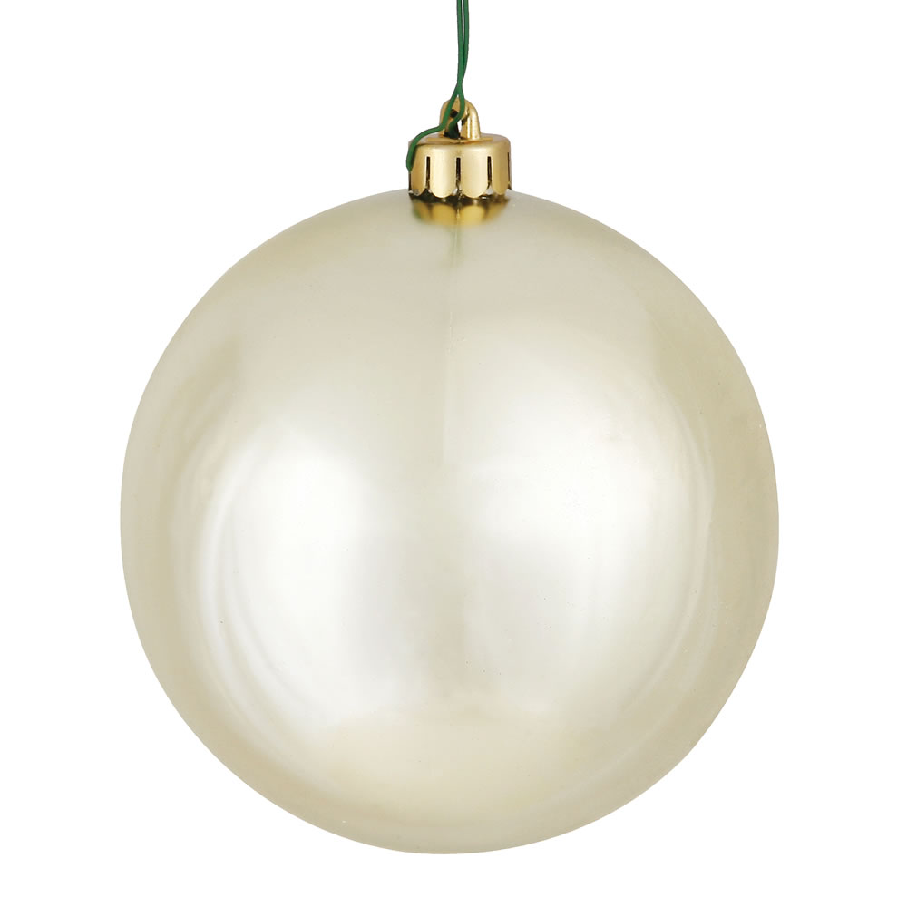10 Inch Champagne Shiny Artificial Christmas Ball Ornament - UV Drilled Cap