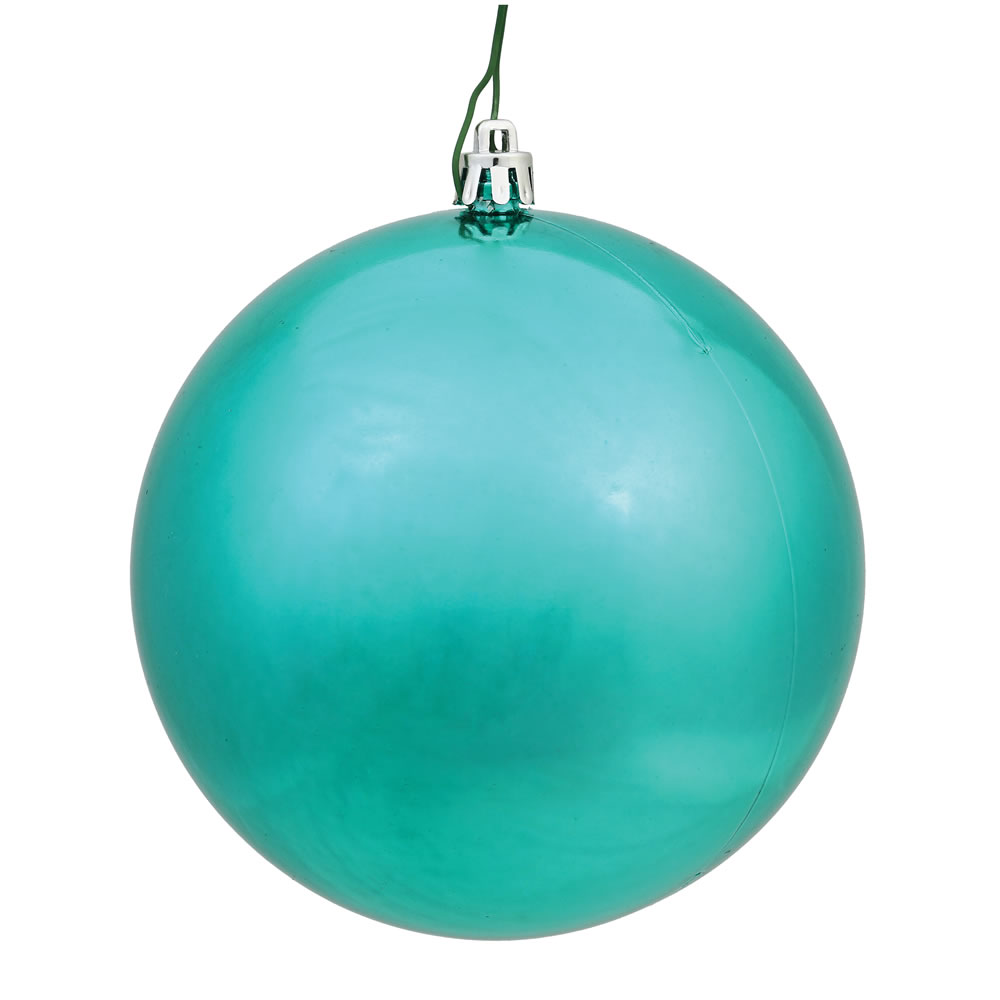 10 Inch Teal Shiny Artificial Christmas Ball Ornament - UV Drilled Cap