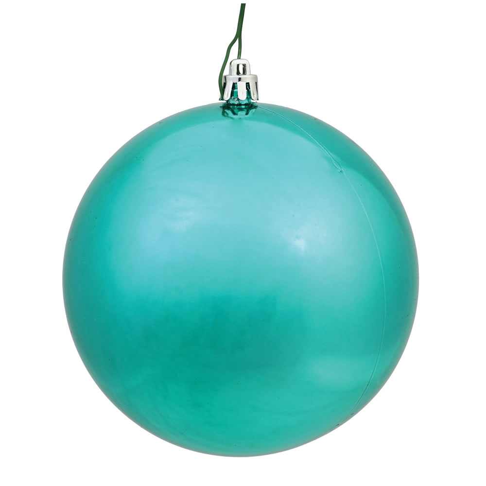 10 Inch Seafoam Shiny Artificial Christmas Ball Ornament - UV Drilled Cap